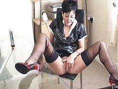 British, Brunette, Masturbation, Mature, Stockings